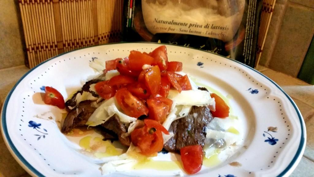 Diaframma con pomodori e scaglie di formaggio - senza lattosio