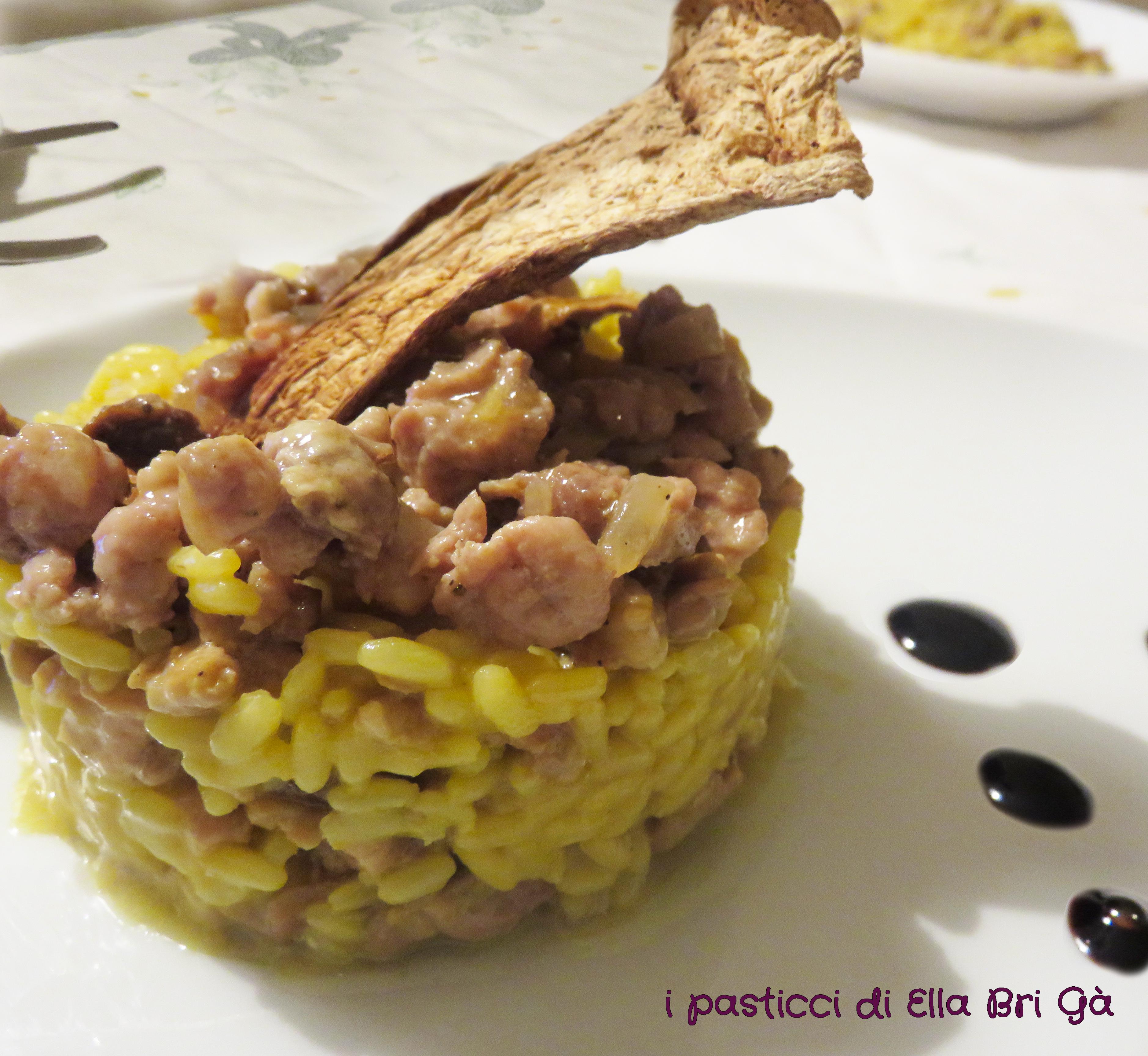 Risotto Salsiccia, Zafferano e Funghi Porcini