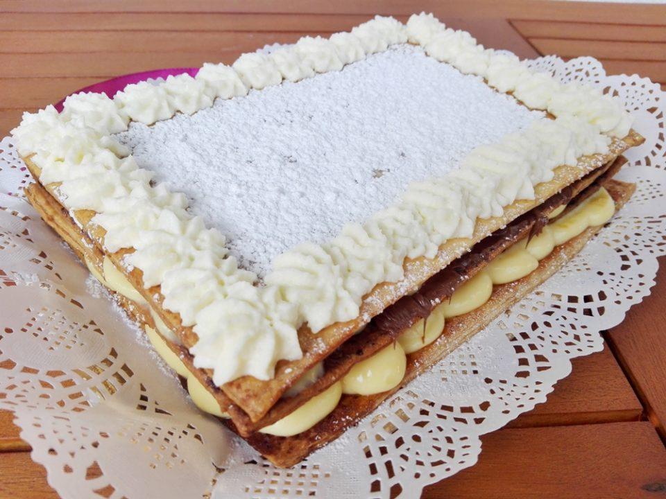 Torta millefoglie con crema diplomatica e nutella torta for Decorazione torte millefoglie