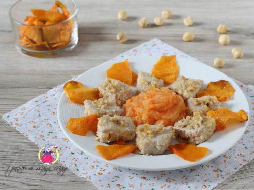 Medaglioni di maiale con purè di patate e carote