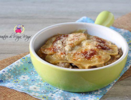 Gratin di patate,funghi e mozzarella