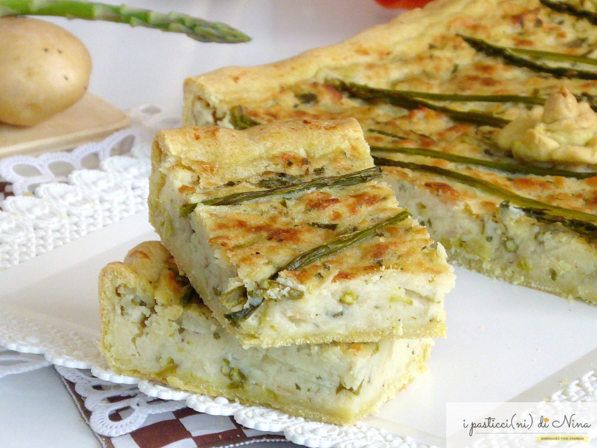 torta salata con pasta matta asparagi e patate