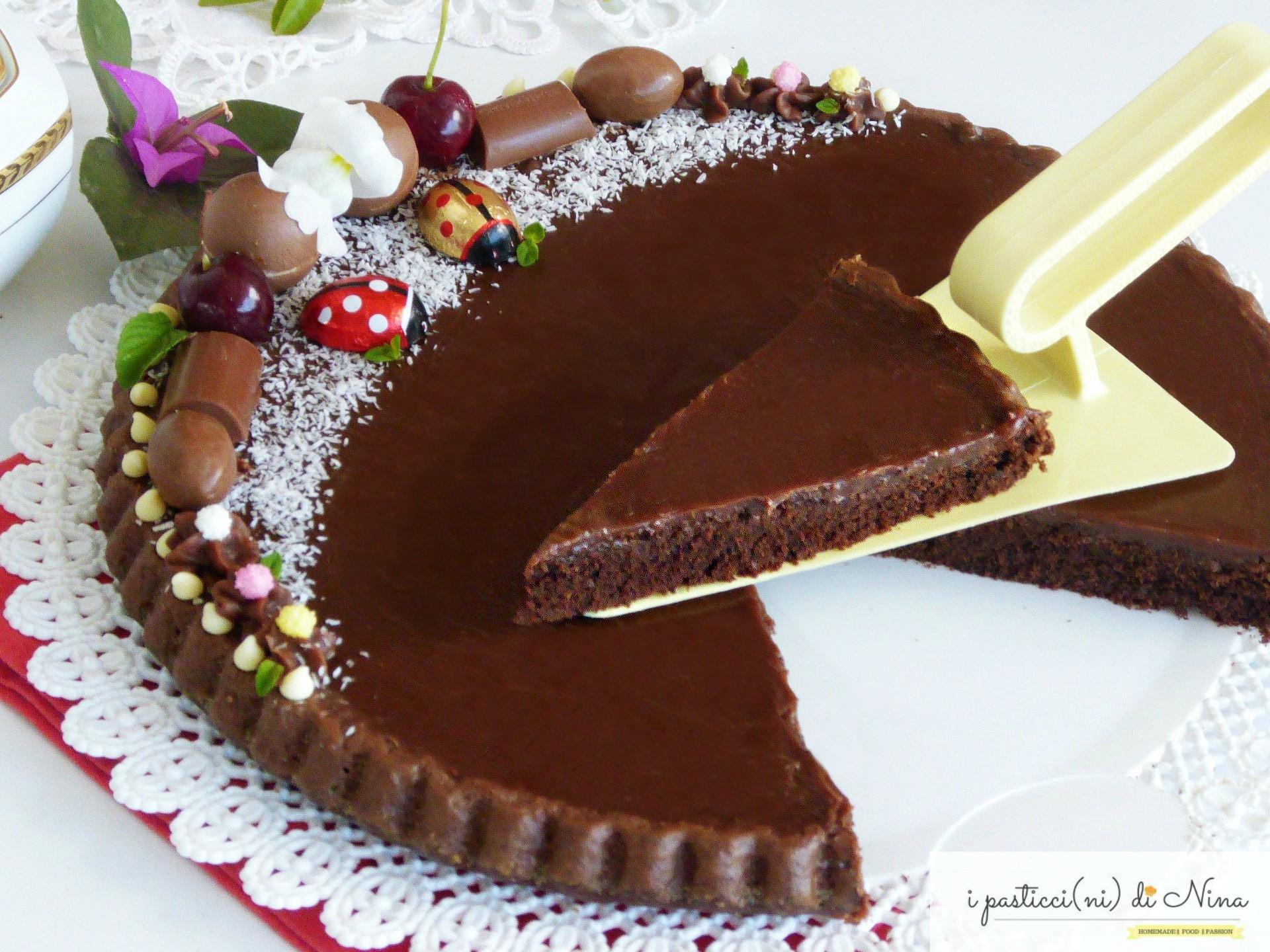 crostata morbida con ganache al cioccolato al latte
