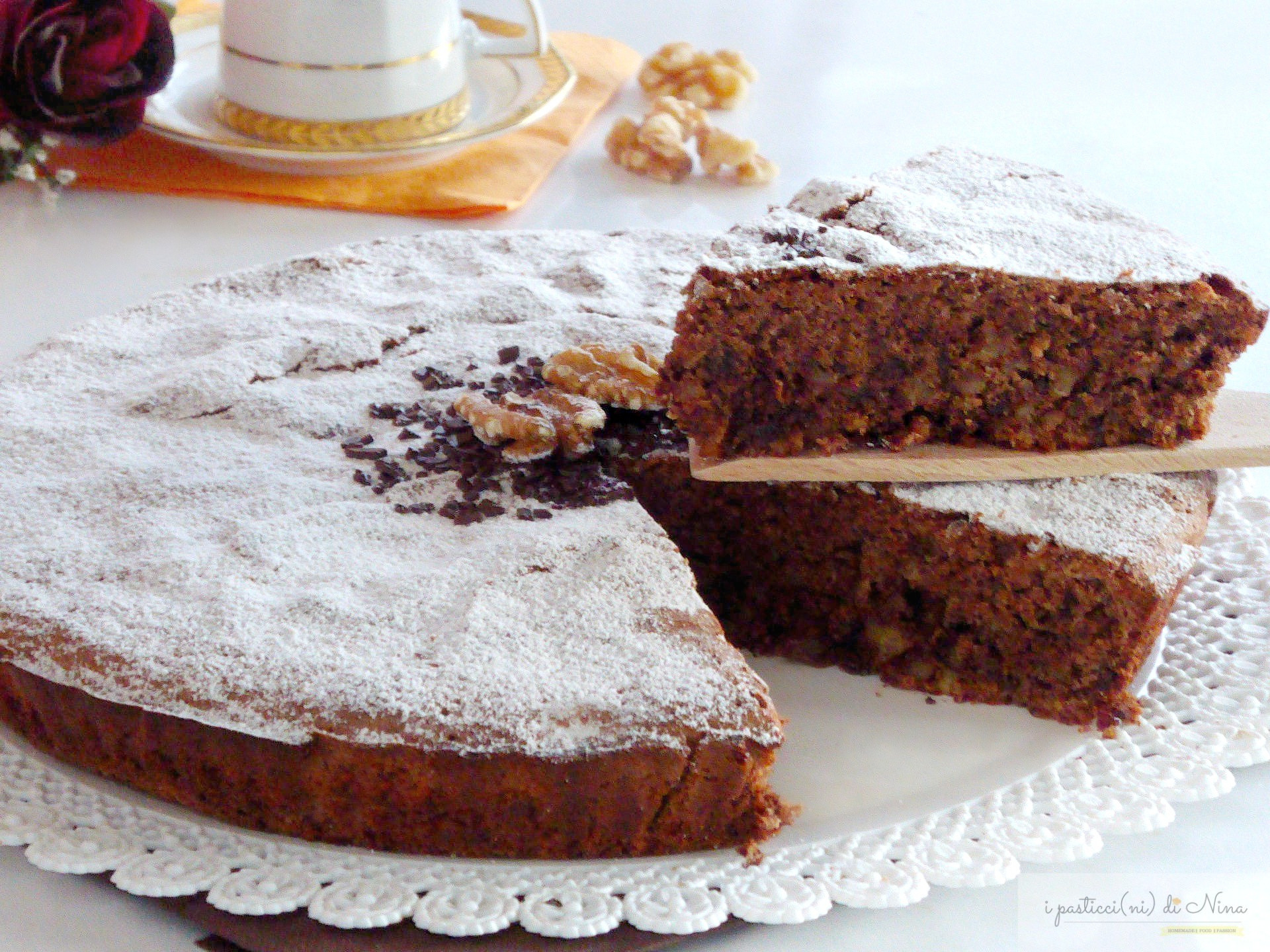 torta di noci e cioccolato senza lievito