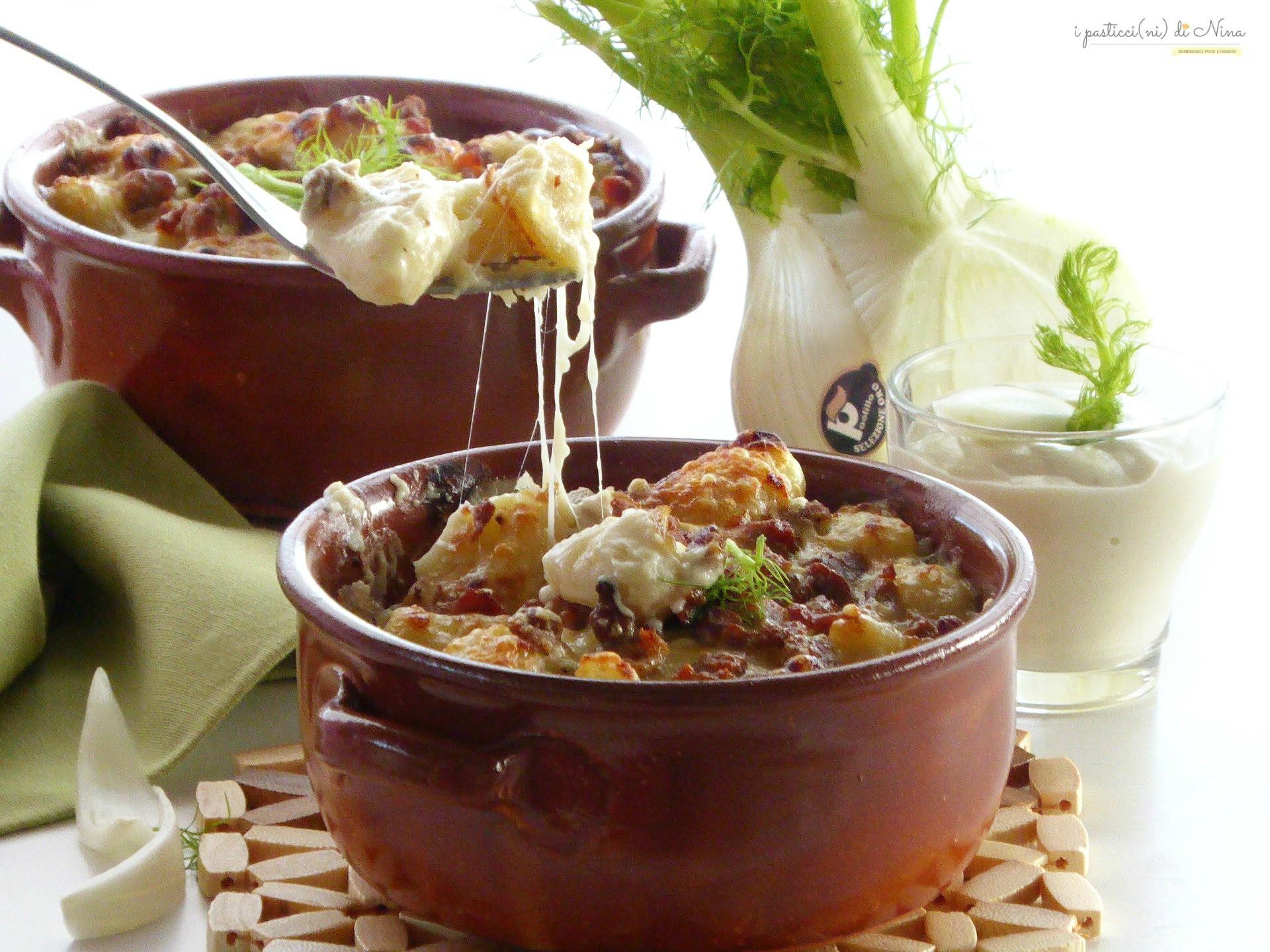 gnocchi al tegamino con crema di finocchi e salsiccia