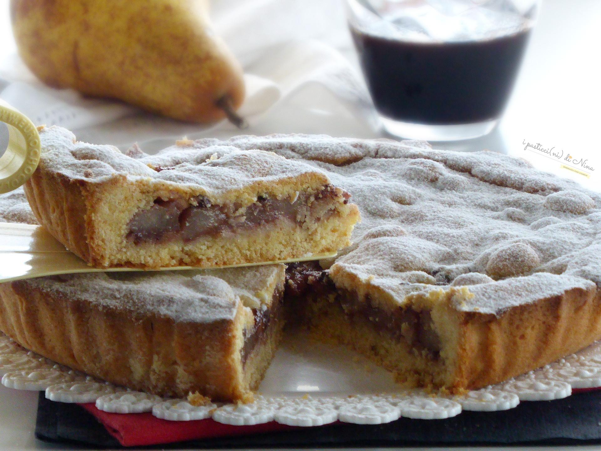 crostata ubriaca con pere e cioccolato