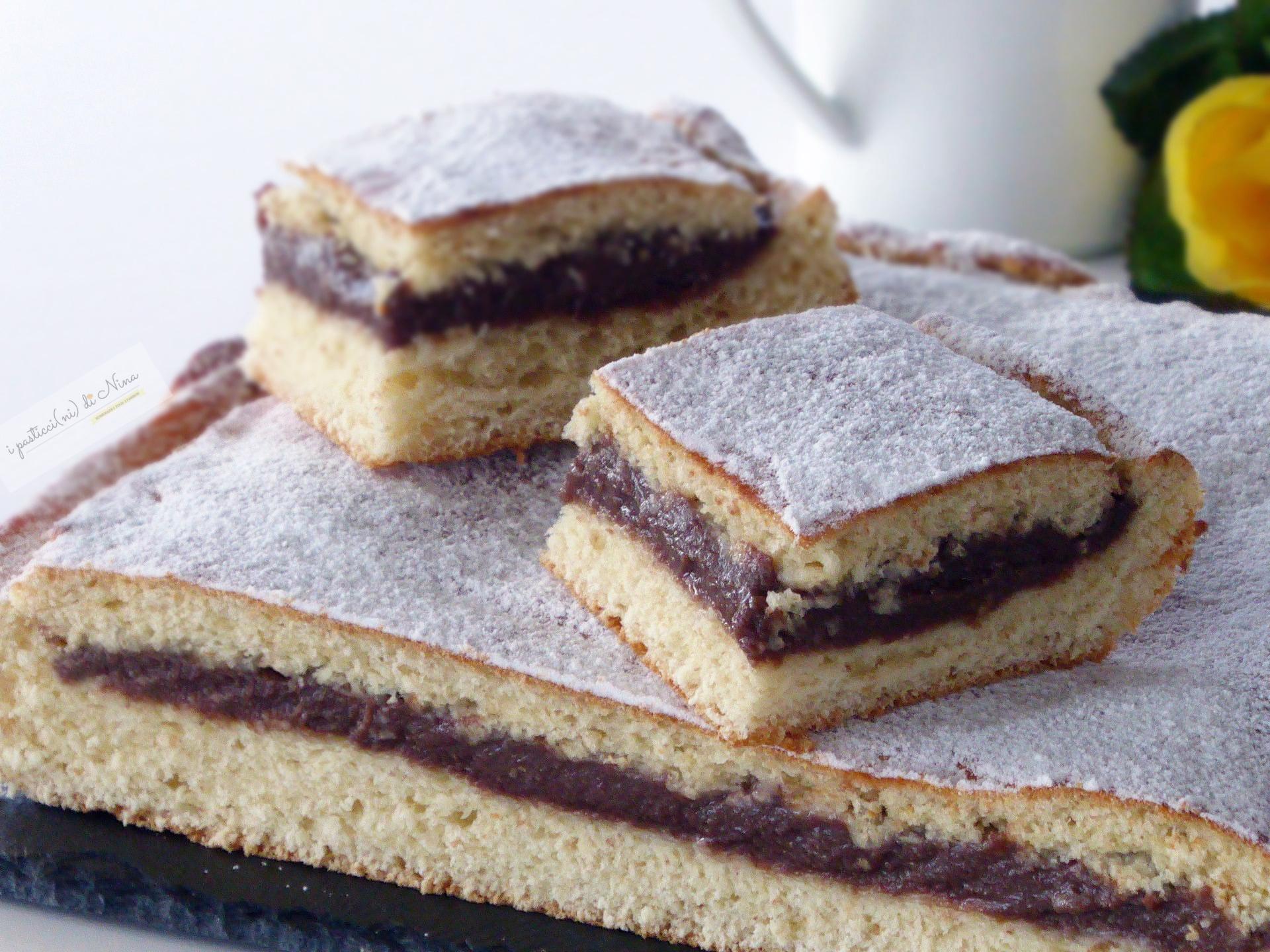 Torta brioche con crema pasticcera al cioccolato