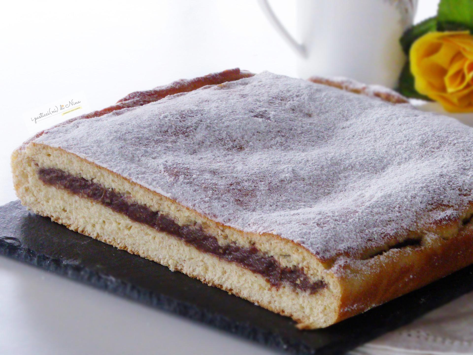 Torta brioche con impasto senza farina con crema pasticcera al cioccolato