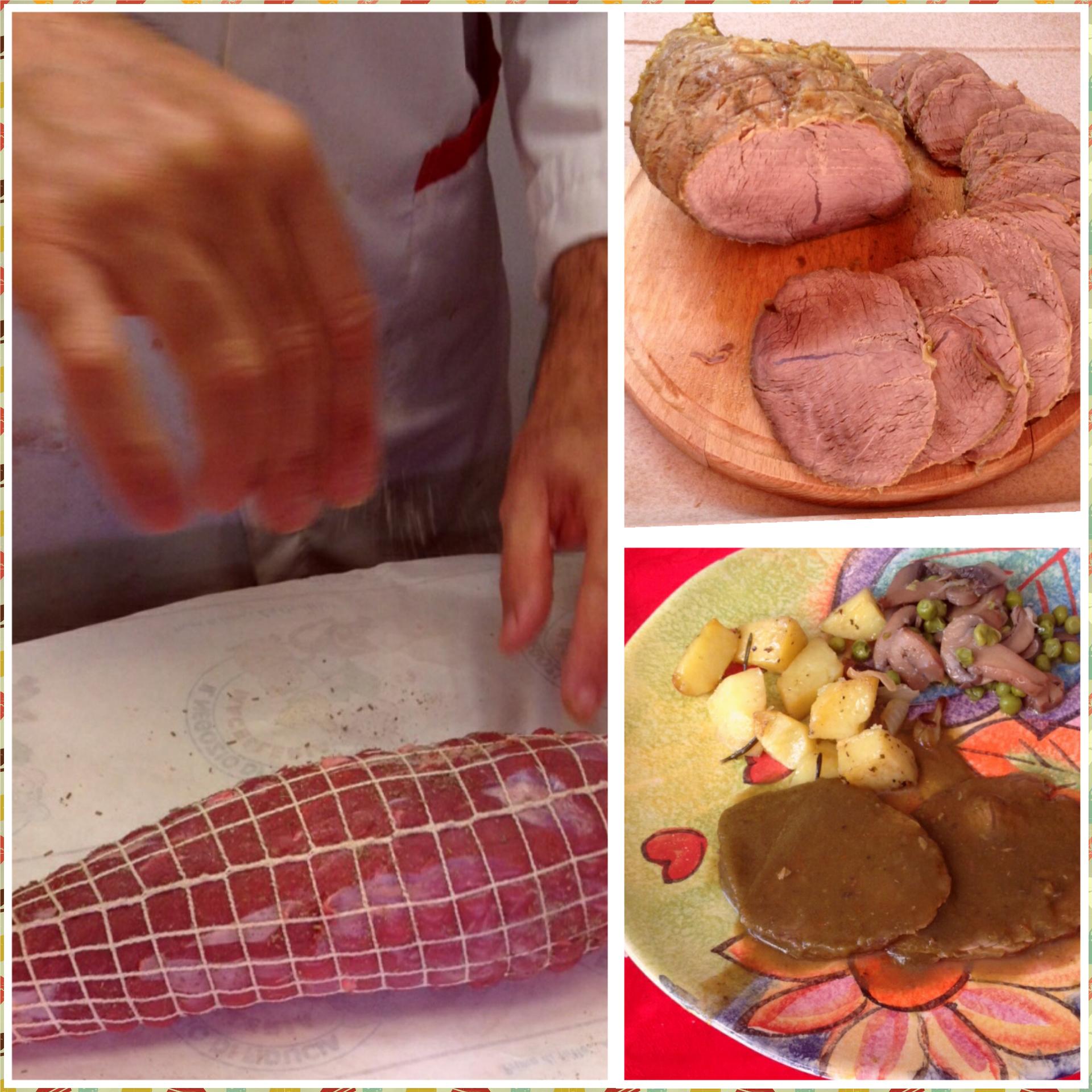 Come preparare un arrosto di vitello ,con contorno di patate piselli e funghi.