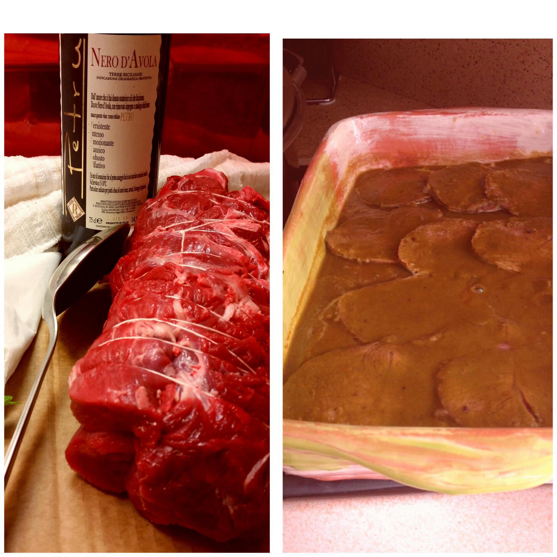Come preparare e cucinare un brasato di bovino con vino nero locale.