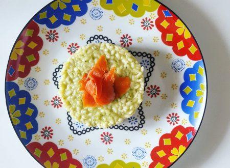 Risotto alla crema di zucchine, salmone selvaggio affumicato e robiola