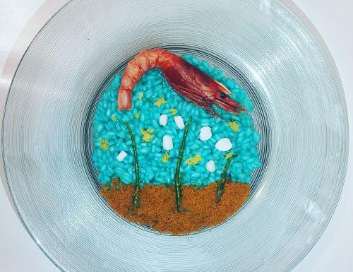 Risotto Acquario: blu curacao, salicornia, calamaro, gambero rosso e bottarga