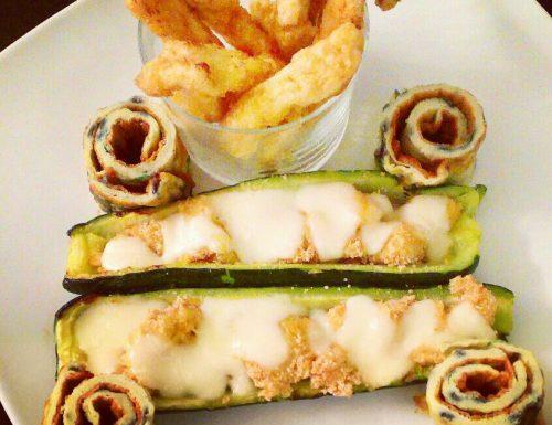 Zucchine ripiene e pollo fritto