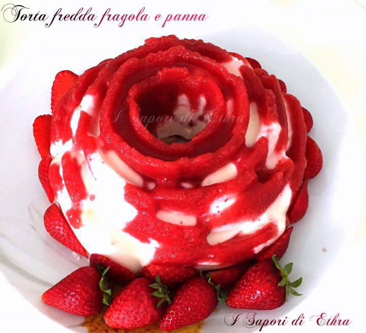 Torta fredda fragola e panna facilissima