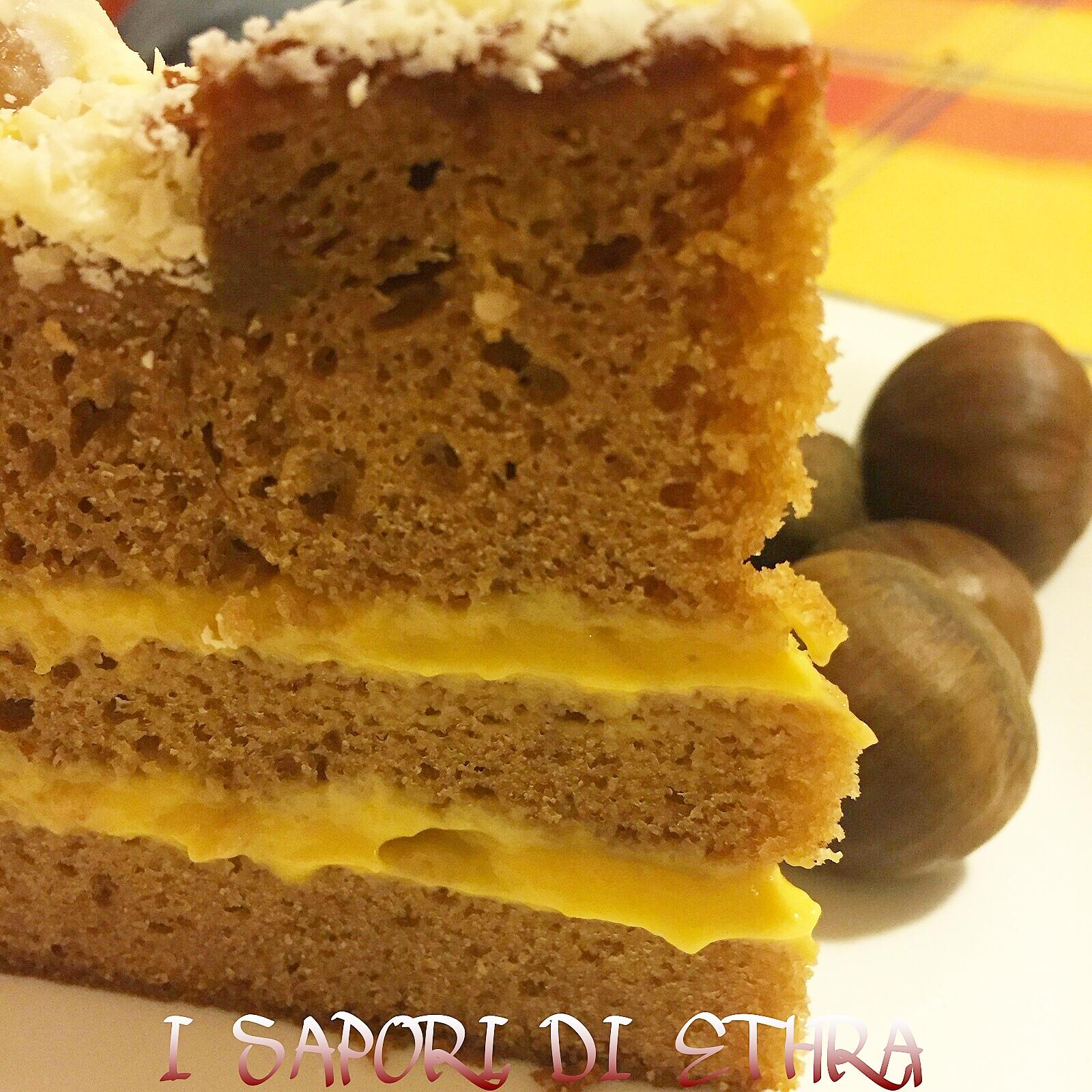 Torta di castagne con crema alla zuppa inglese