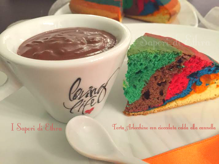 Torta Arlecchino con cioccolata calda alla cannella