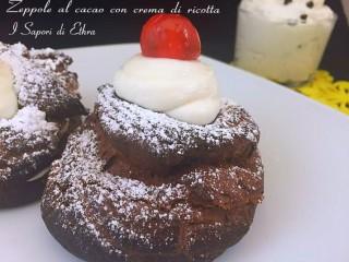 Zeppole al cacao con crema di ricotta di ricotta