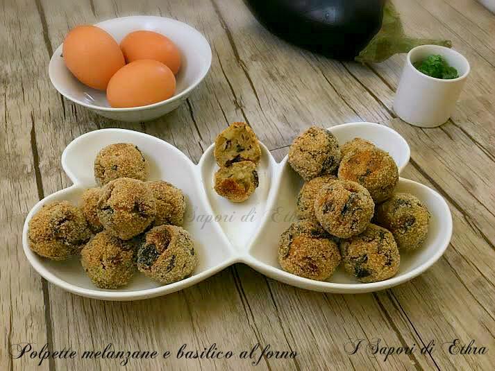 Polpette melanzane e basilico al forno