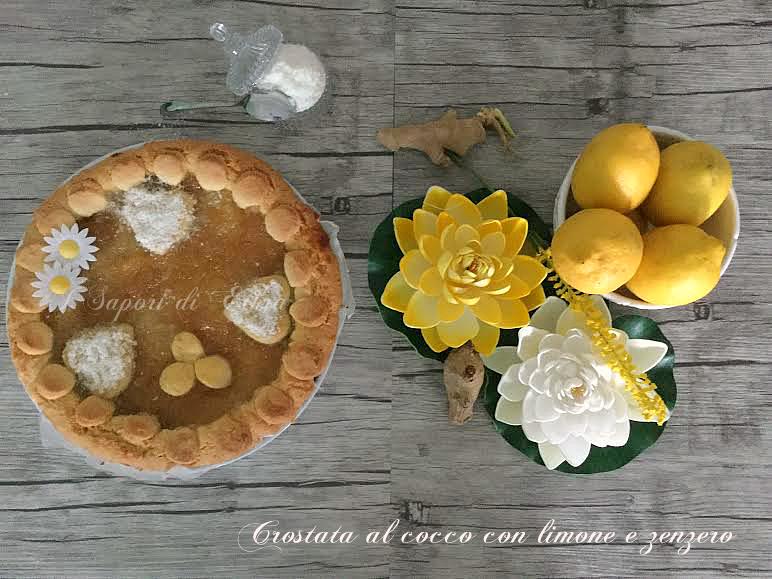 Crostata  al cocco con limone e zenzero