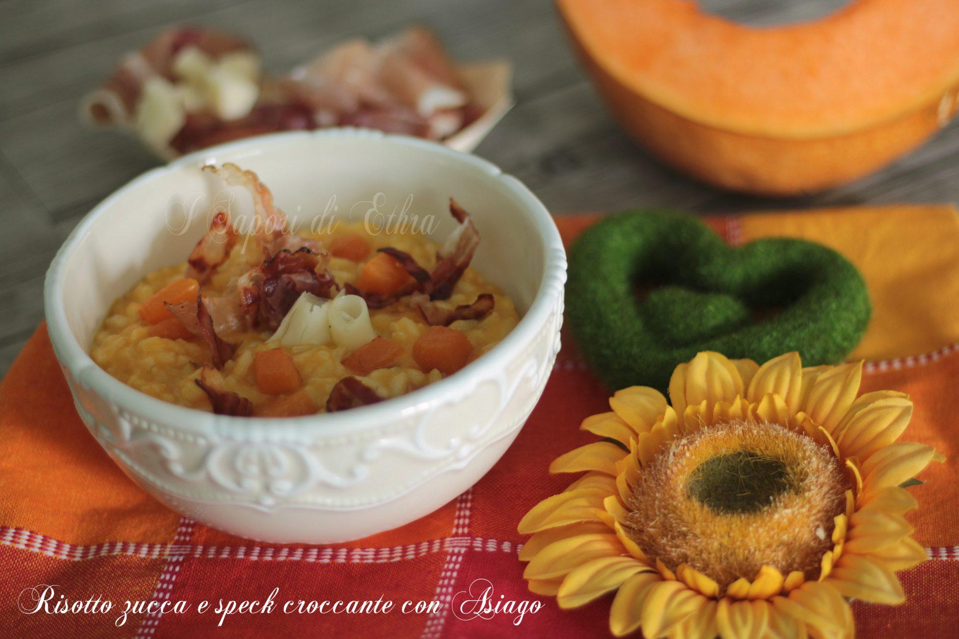 Risotto zucca e speck croccante con  Asiago - I Sapori di Ethra