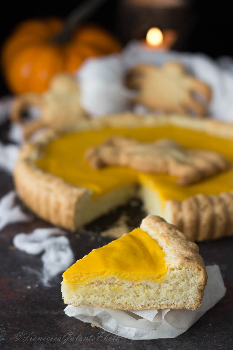 Crostata halloween con crema di zucca e ricotta