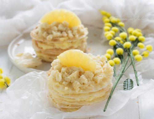 Torta mimosa veloce con millefoglie e ananas