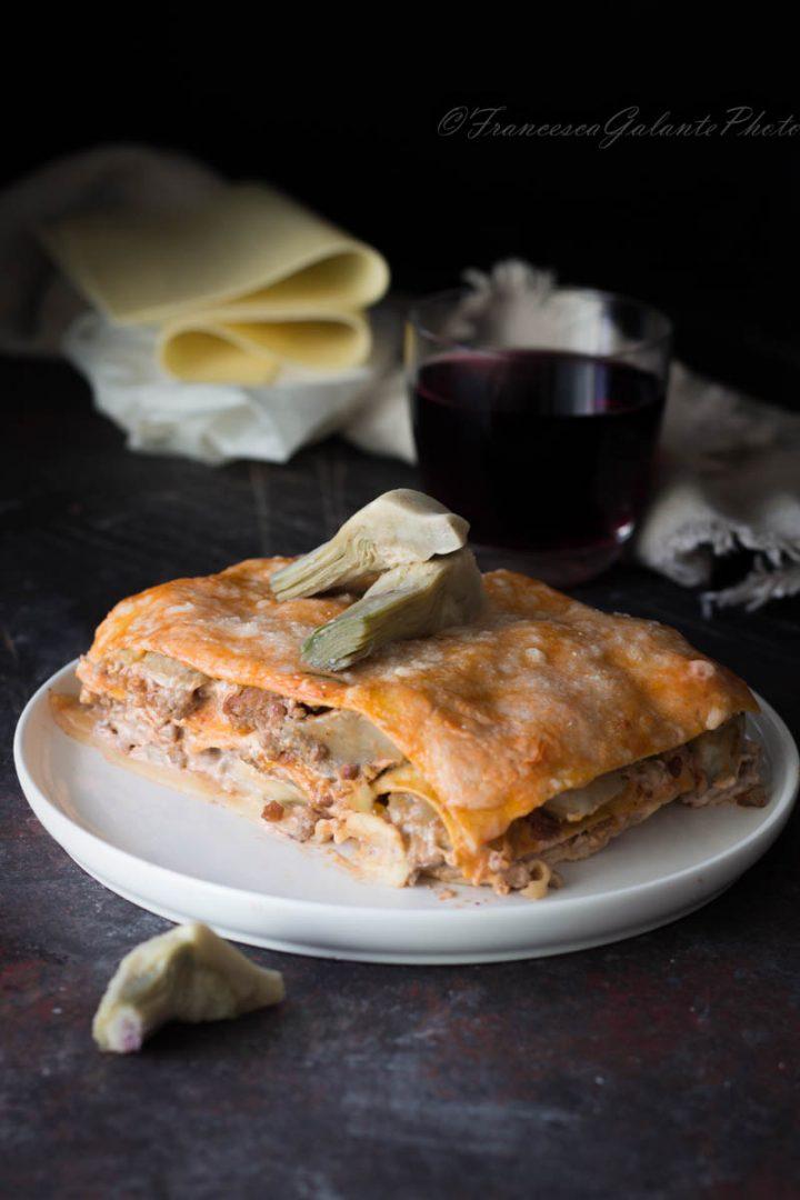 Lasagne con carciofi macinato e mozzarella