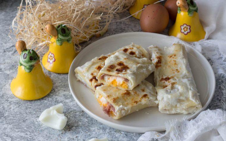 Cannelloni bianchi di lasagne speck e uova