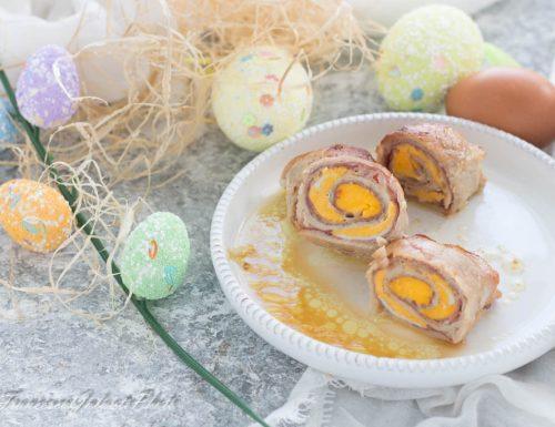 Involtini in padella con uova sode e cotto
