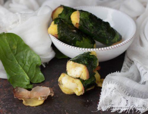Antipasto sfizioso di gateau speck e spinaci