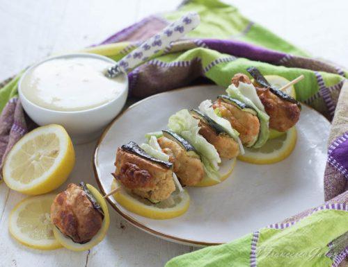 Spiedini di zucchine con purè di patate