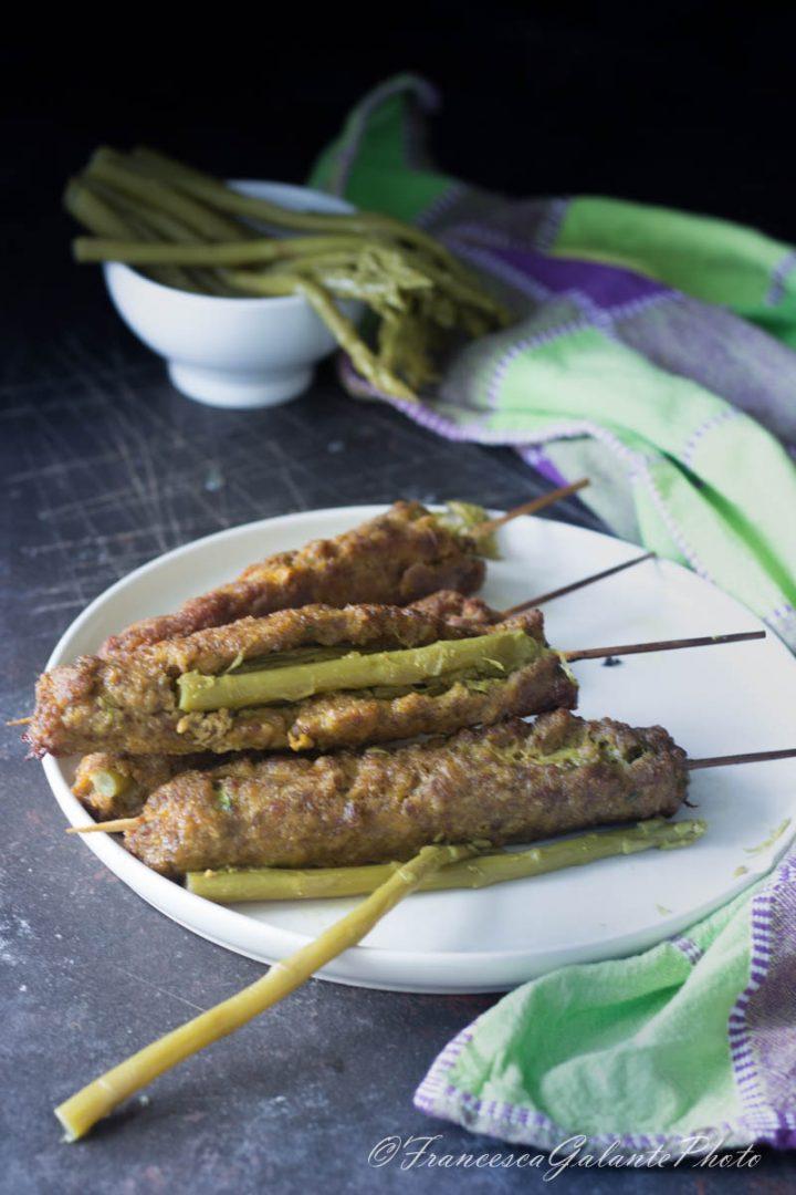 Spiedone di carne macinata agli asparagi