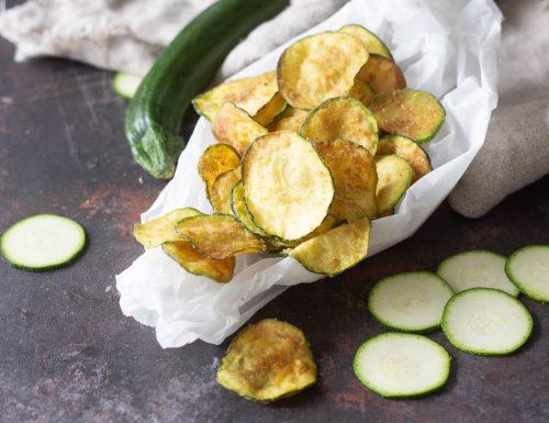 Zucchine chips fritte e al forno croccantissime