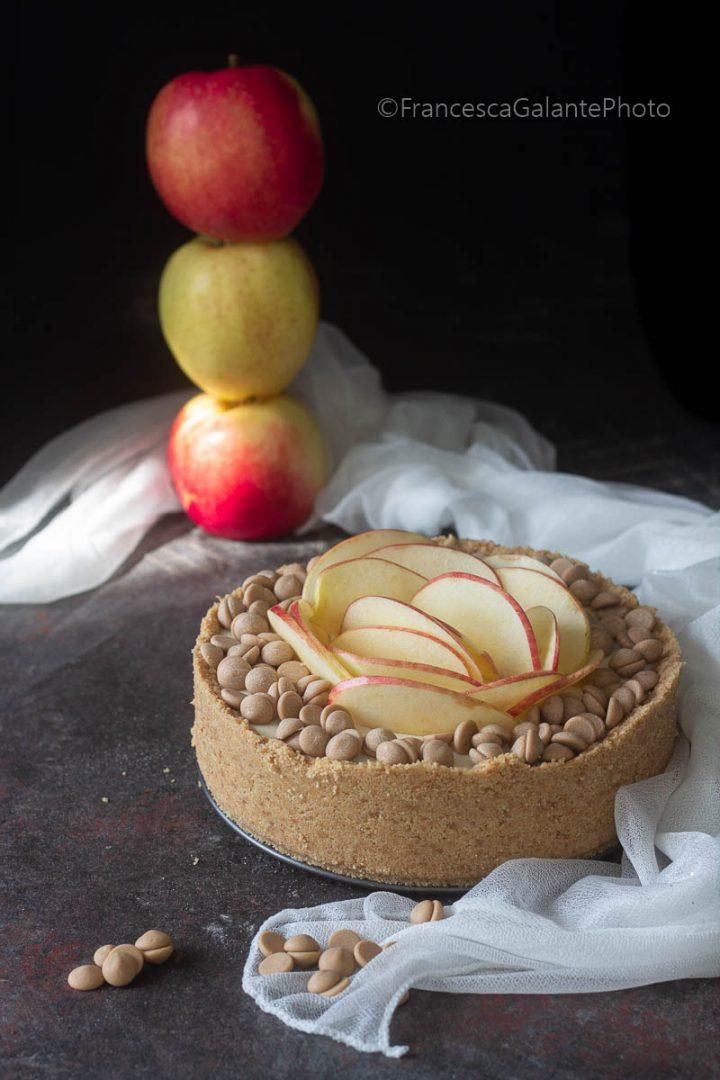Cheesecake mele e cioccolato gold senza cottura