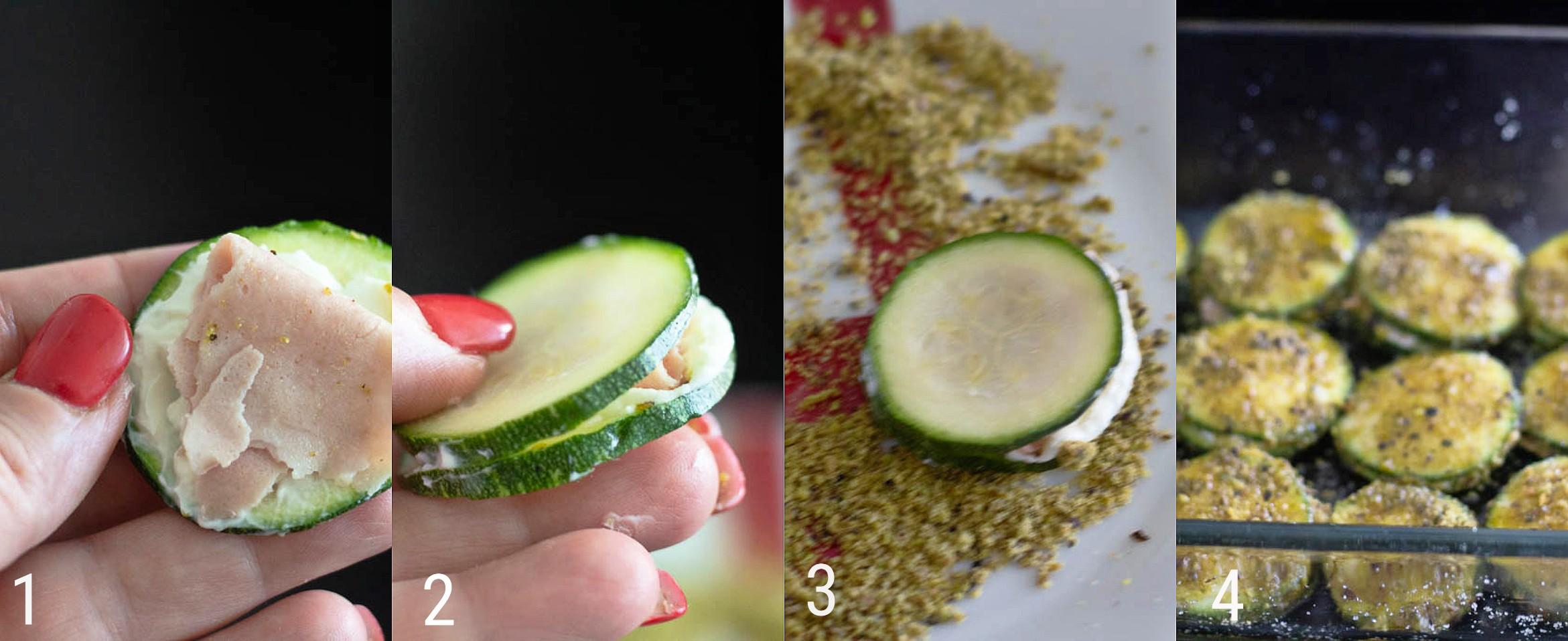 Zucchine con robiola e prosciutto gratinate
