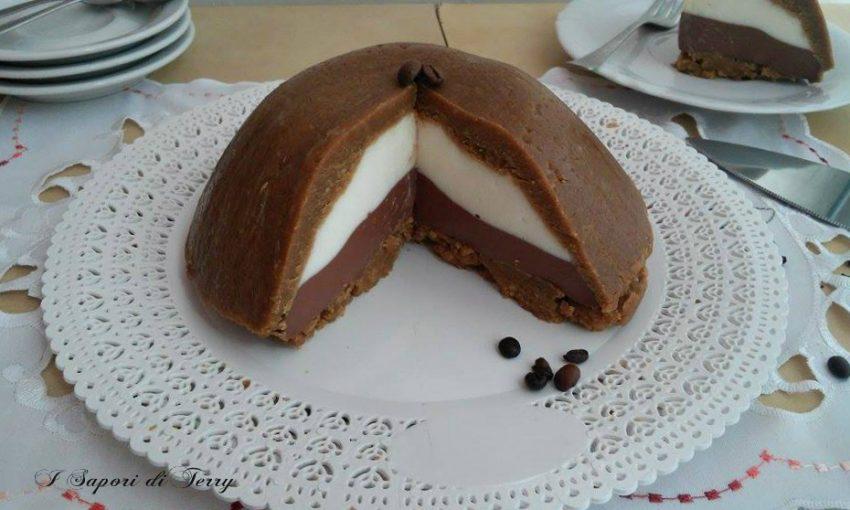 Zuccotto tre gusti ricotta cacao e caffè senza cottura