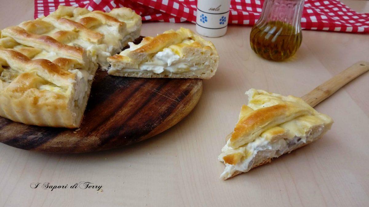 Crostata rustica con carciofi mozzarella e philadelphia