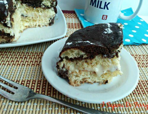Torta Babà al rum con cacao ripiena di nutella e cioccolato bianco