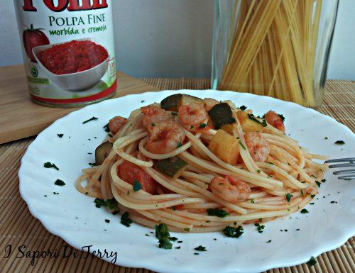Spaghetti con zucchine e gamberetti