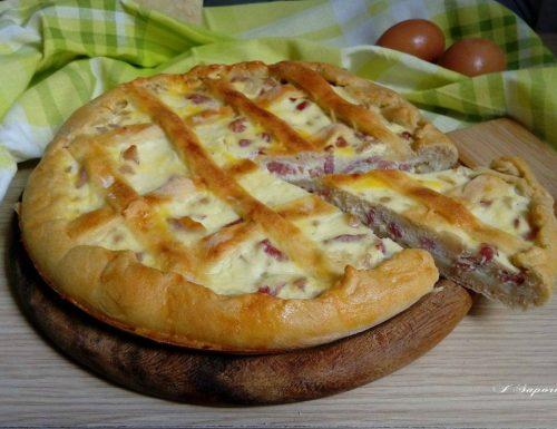 Crostata salata con ricotta pancetta e mozzarella