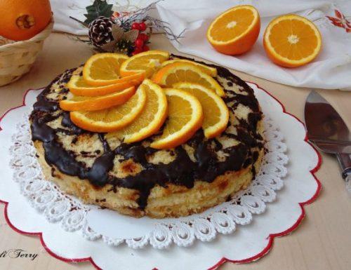 Torta soffice con crema all'arancia e cioccolato