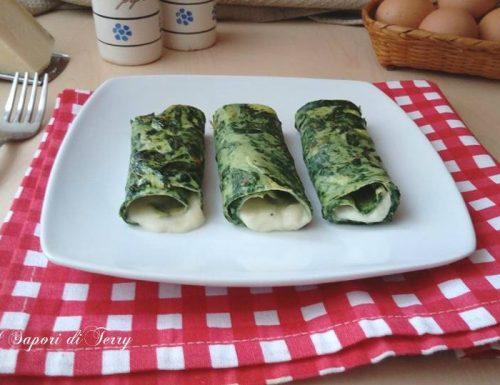 Rotoli di crepe con spinaci e mozzarella