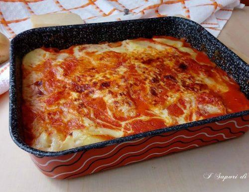 Parmigiana di patate con prosciutto e mozzarella