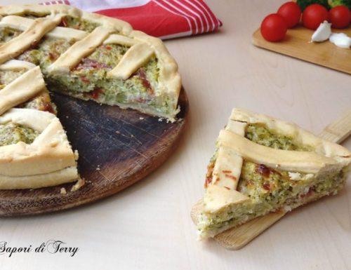 Torta con broccoli speck e stracciatella