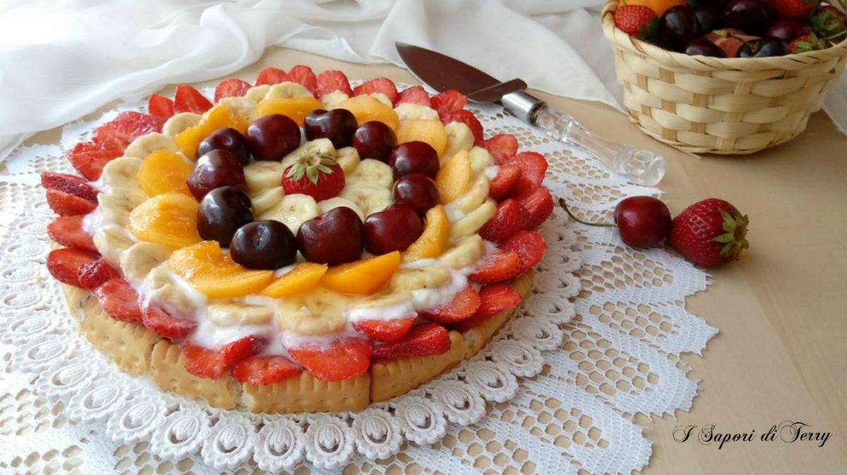 Torta fredda con ricotta e frutta