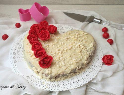 Torta biscottata con nutella e cioccolato bianco