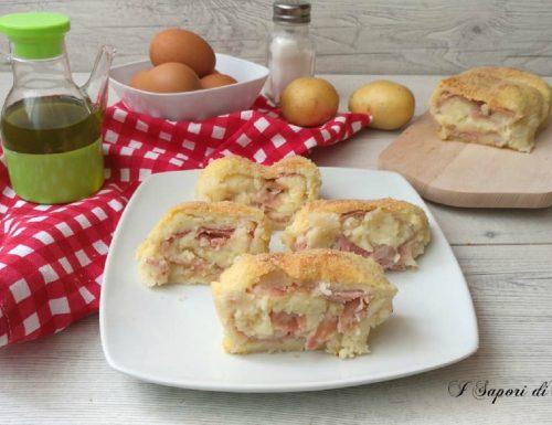 Polpettone di patate con prosciutto cotto e scamorza