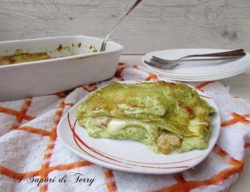 Lasagne con pesto e gamberi