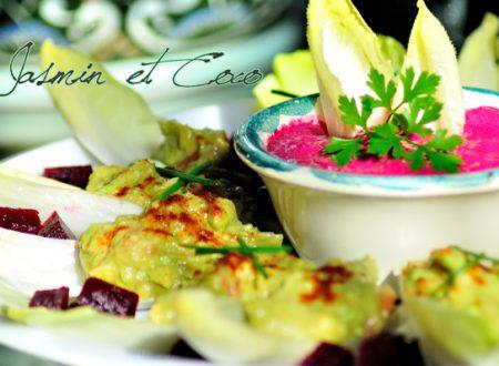Indivia con Guacamole e Salsa di Barbabietola