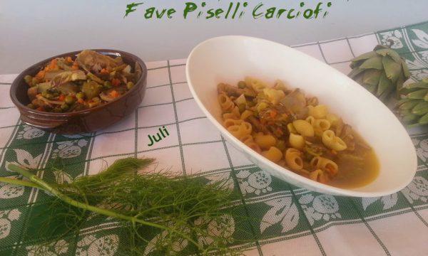 Conghiglie di pasta con fave piselli carciofi